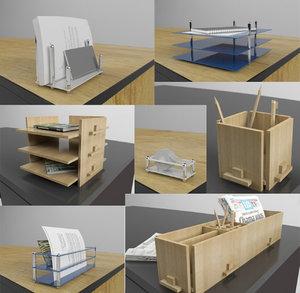 office desk accessories 3d 3ds
