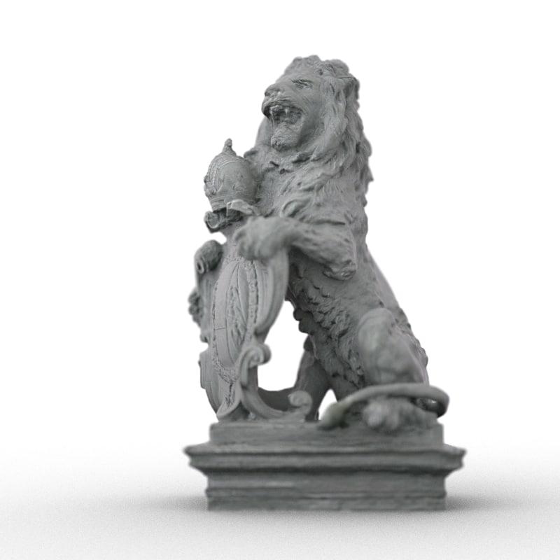 lion statue obj