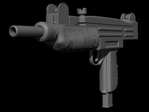 3d 3ds uzi machine gun