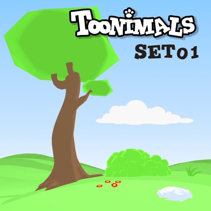 3d cartoon background set toonimals model