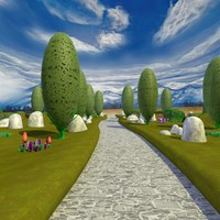 3d cartoon landscape scene path