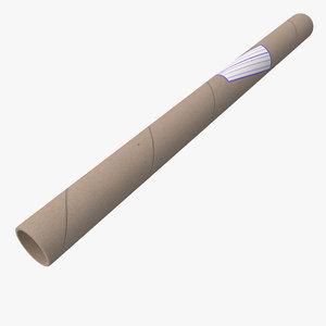 cardboard paper tube 3d obj