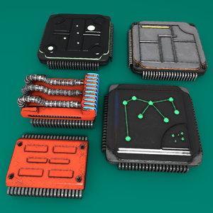 5 computer chips 3d model