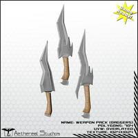 3d model daggers fantasy weapon pack