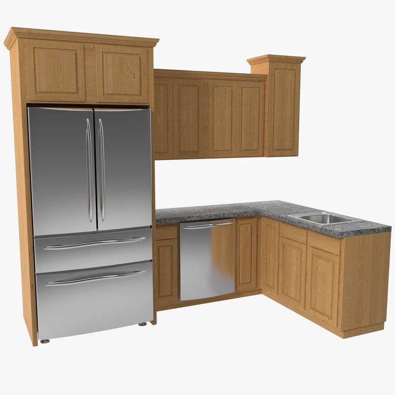 Kitchen set 3d c4d for Kitchen set 3d warehouse