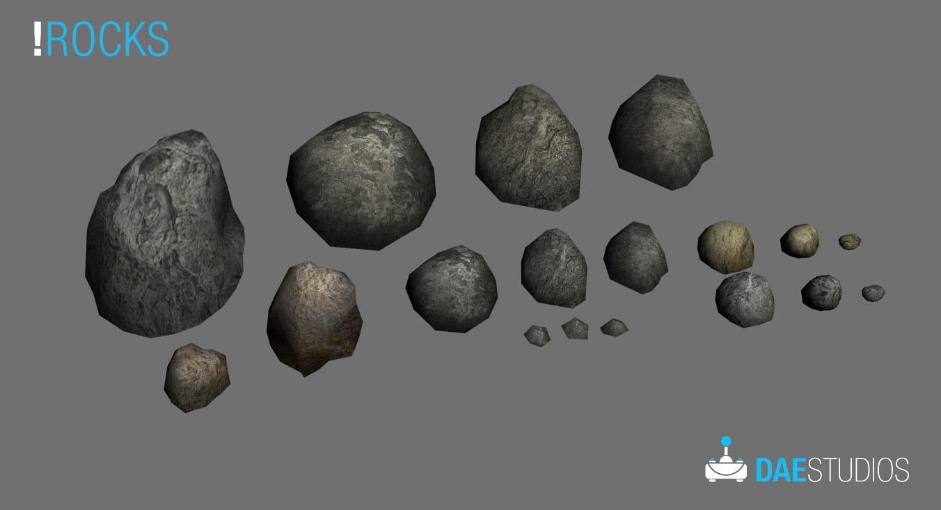 stones rock fbx