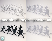 3d silhouette people model