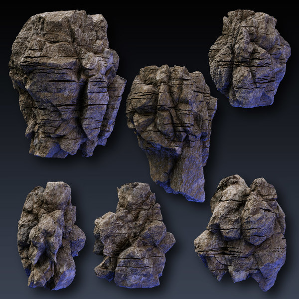 rock blocks faces cliffs 3d model