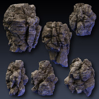rock blocks faces cliffs 3d model