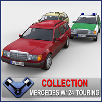 w124 touring police 3d model
