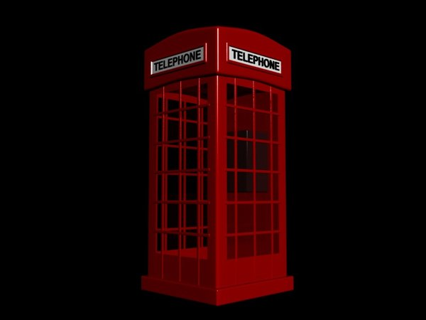 3d red phone booth