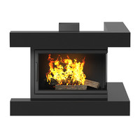 Wall Fireplace with Corner Shelves