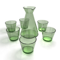 Glass Carafe Decanter + Drinking Glass