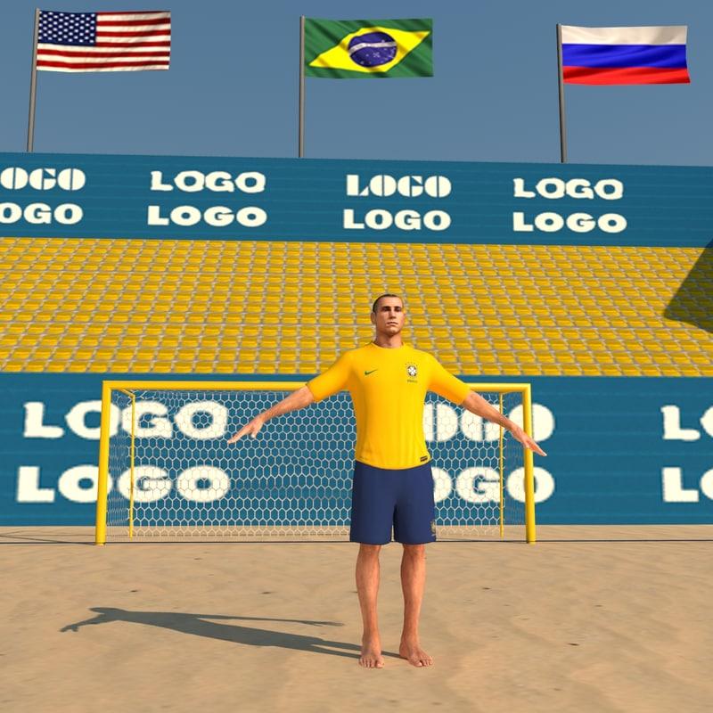 3d model of beach soccer stadium pack