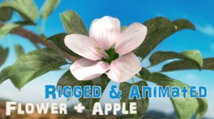 3d apple branch - rigged model