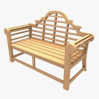 wooden bench 2 wood 3d model