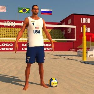 beach volleyball pack ball 3d model