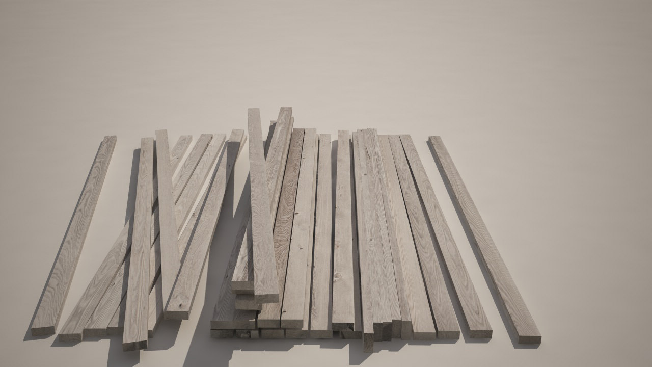 33 wooden planks 3d model