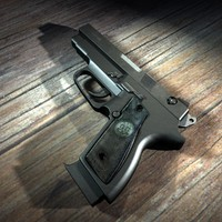 3d model automatic 9mm handgun gun