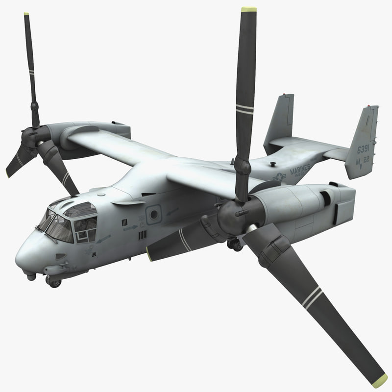 3d military tiltrotor aircraft mv-22 model