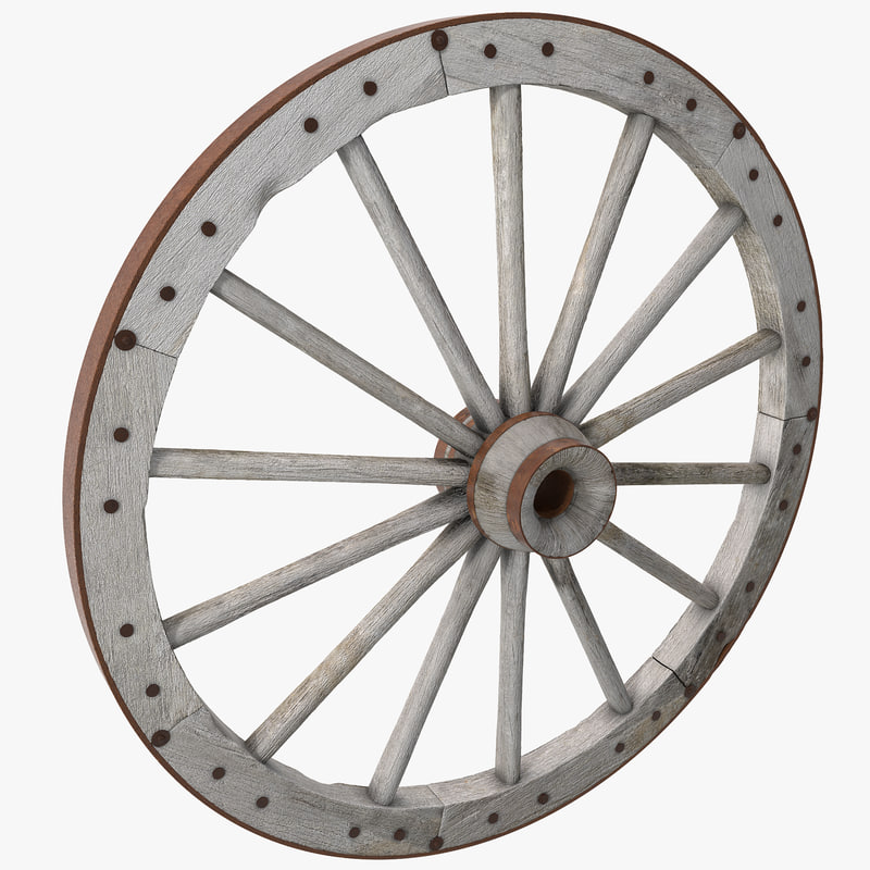 3d old wagon wheel