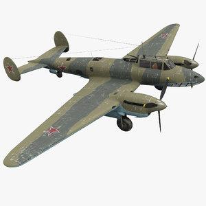 petlyakov pe-2i russian world war 3d model