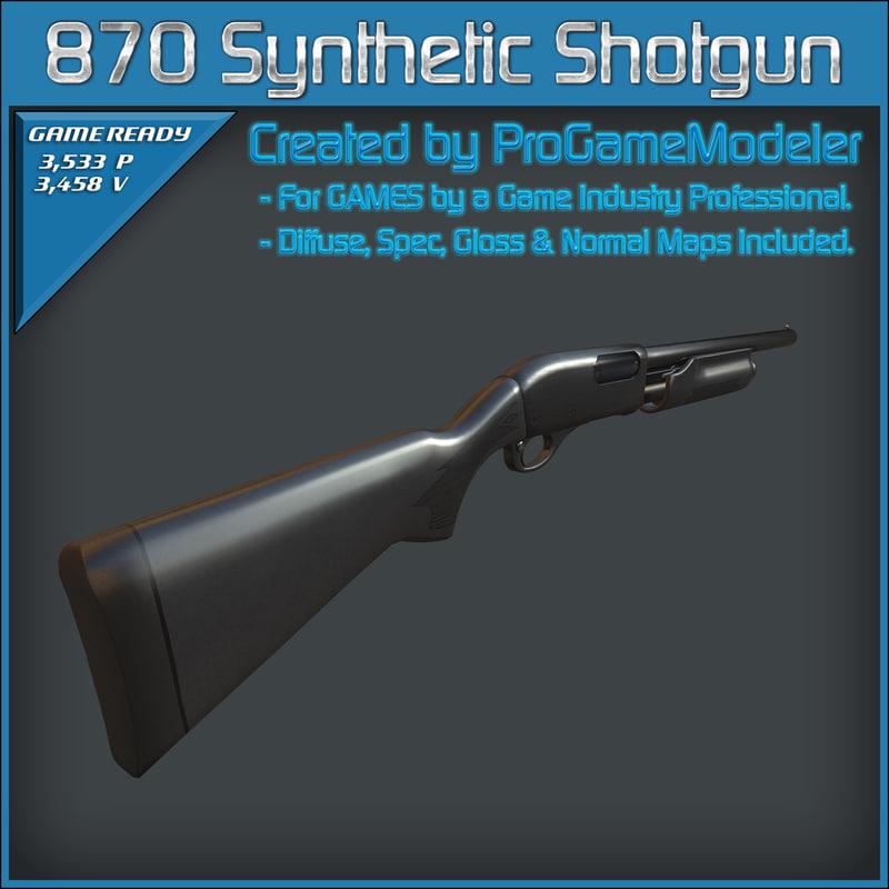 3d model of remington 870 synthetic shotgun