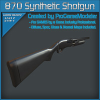3d model of remington 870 synthetic shotgun