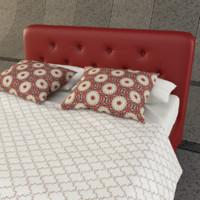 bed bedroom pillow 3d model