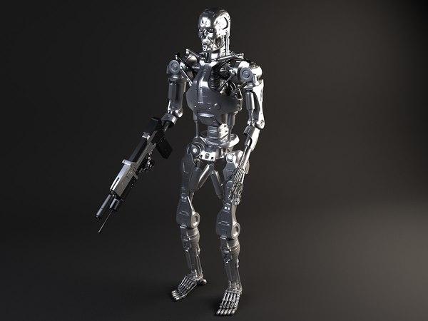 3d terminator t800 rigged model