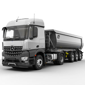 3d model of mercedes arocs tipper trailer