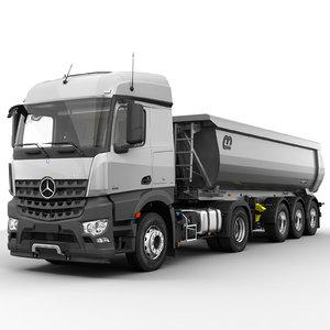 3d model of mercedes arocs tipper trailer