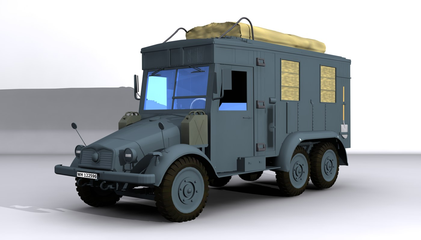 3d model krupp protze kfz61 wwii