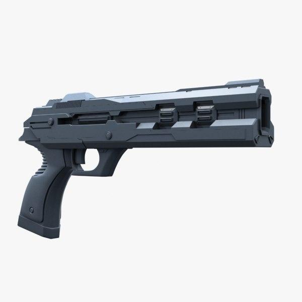 3d model of sci fi pistol