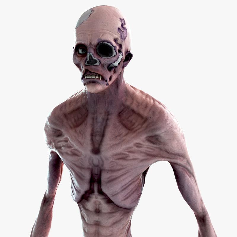 zombie creature 3d obj
