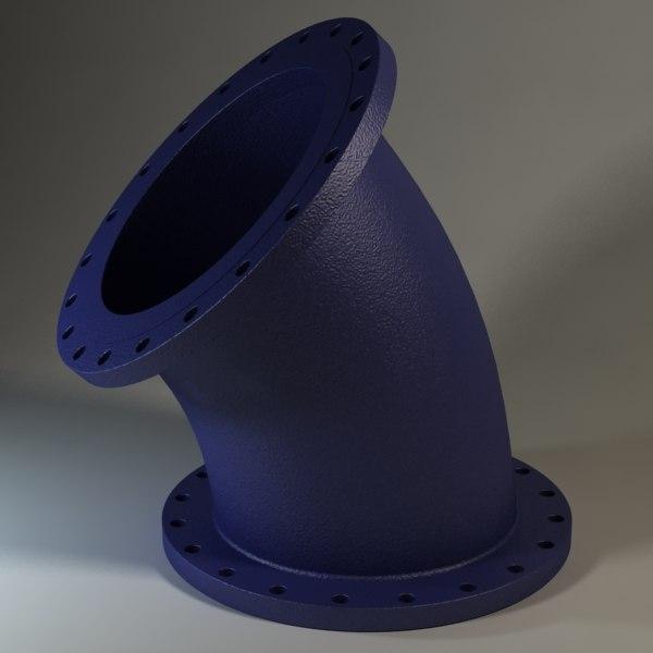 3d model flanged bend socket 24