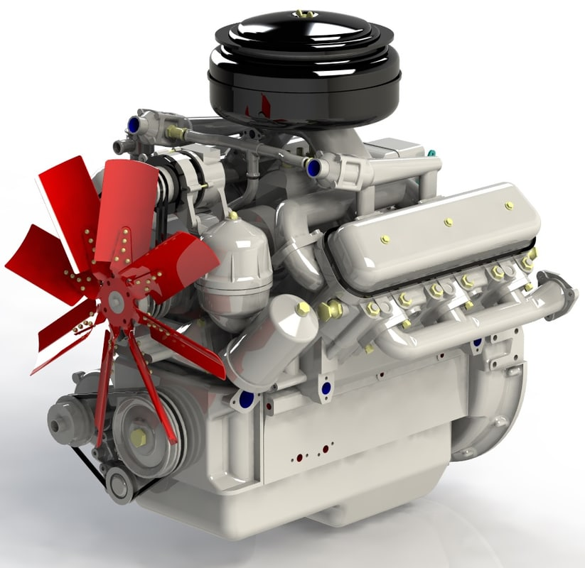 3d max diesel engine yamz-236