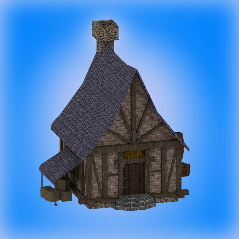 3d medieval fantasy home house model