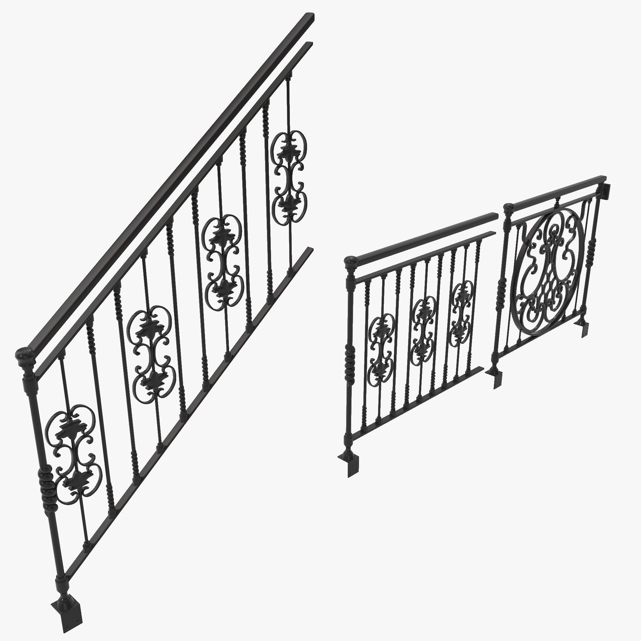 3d ornate railings set design