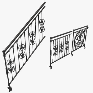 3d ornate railings set design