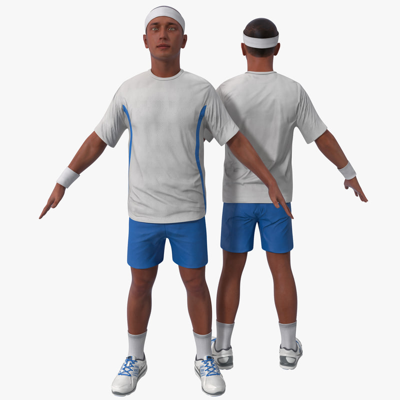 3d model tennis player rigged 3