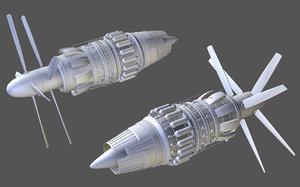 turboprop jet engine 3ds