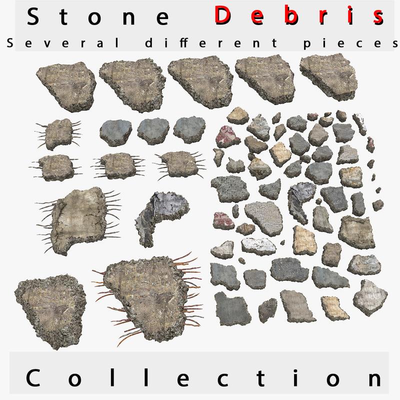 3d model debris stone rock