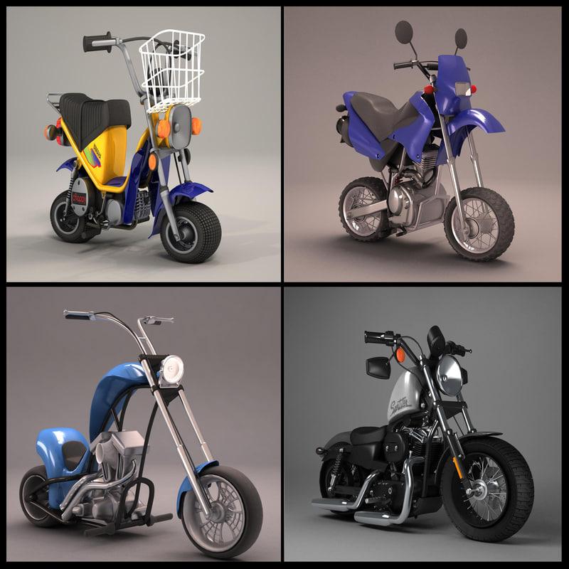 cartoon motorcycles 3d model