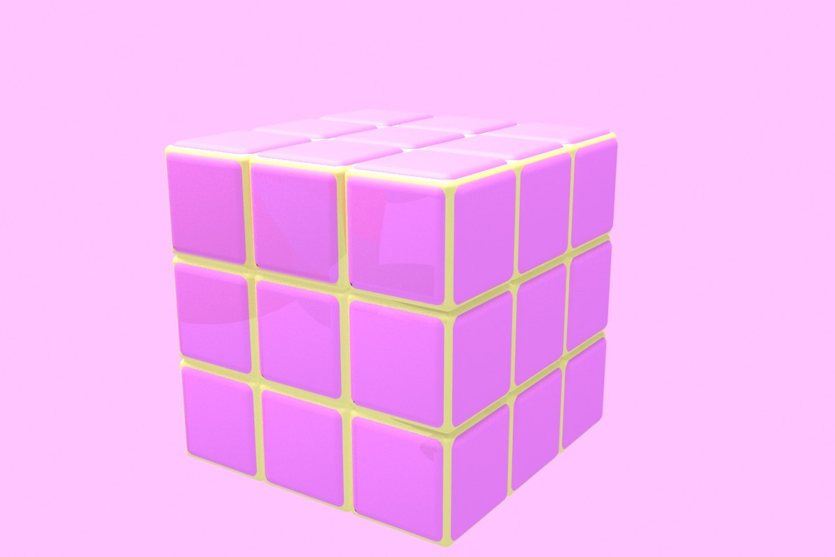 3d pink s cube