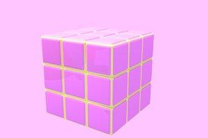 3d pink s cube