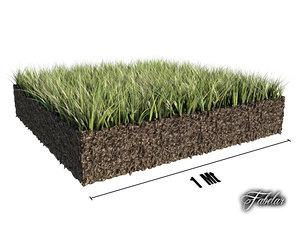3d model grass patch
