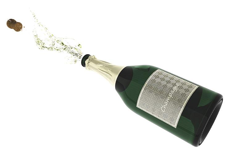 3d splash sparkling wine