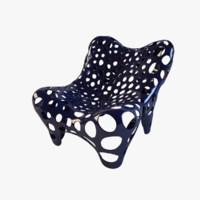 armchair fauteuil ii midnight 3d max