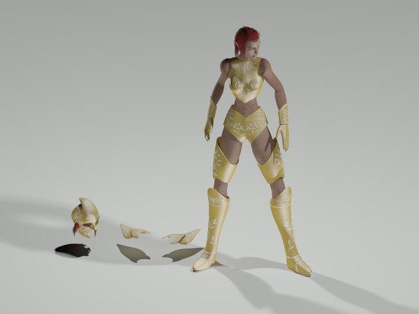 3d elf warrior female character model